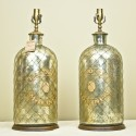 Pair of Mercury Glass Pharmacy Lamps